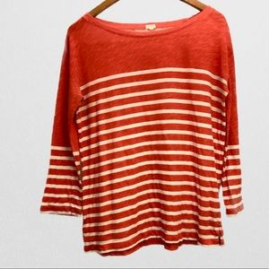 J. Crew Orange Striped Tee